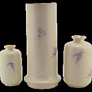 Pair Royal Bonn Hibiscus Vases - Antique