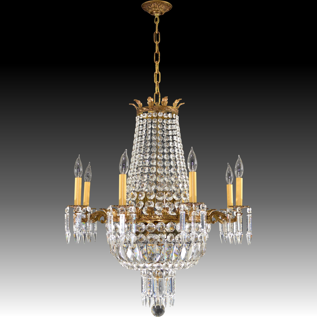 Roll over Large image to magnify, click Large image to zoom - Vintage French Brass & Crystal Chandelier - 16 Lights From Tolw On