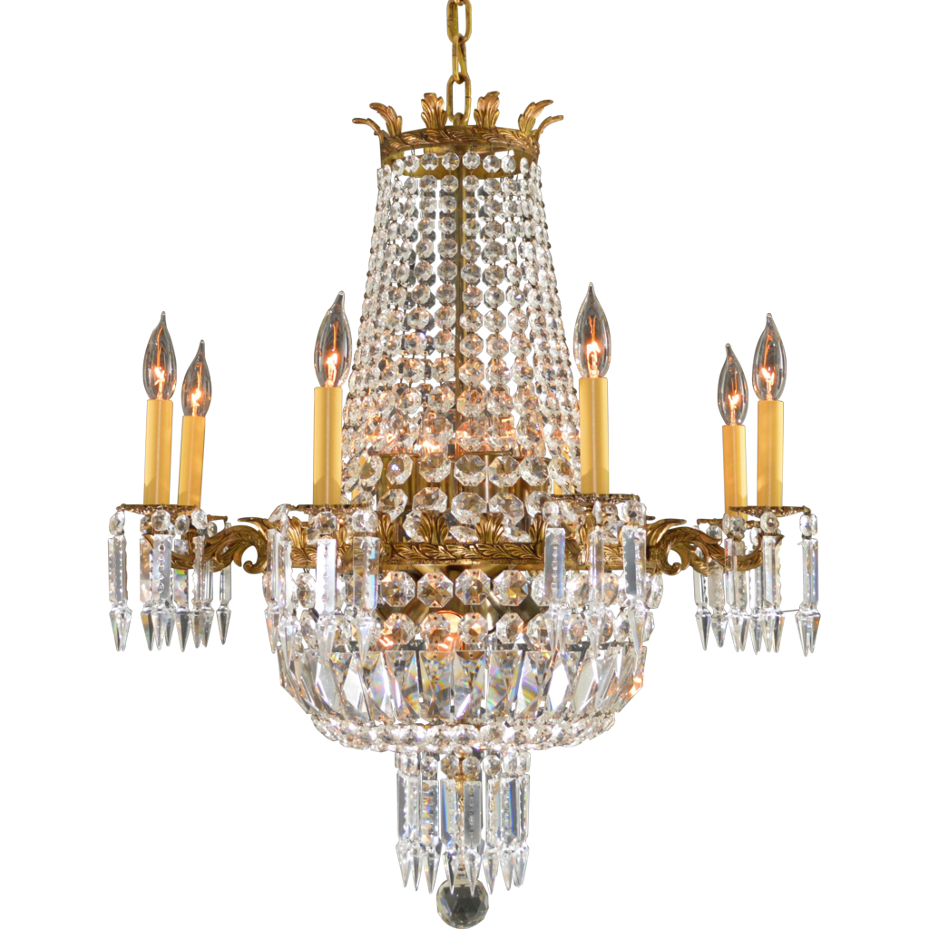 Vintage French Brass & Crystal Chandelier - 16 Lights from ...