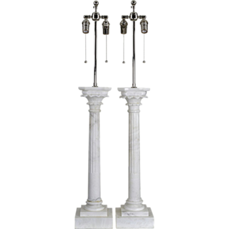 Pair Carved Italian Marble Lamps - Monumental Corinthian Columns