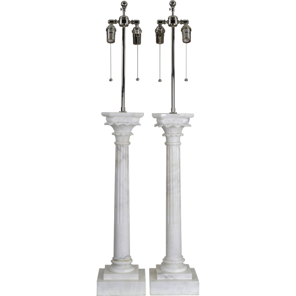 Pair Carved Italian Marble Lamps - Monumental Corinthian Columns