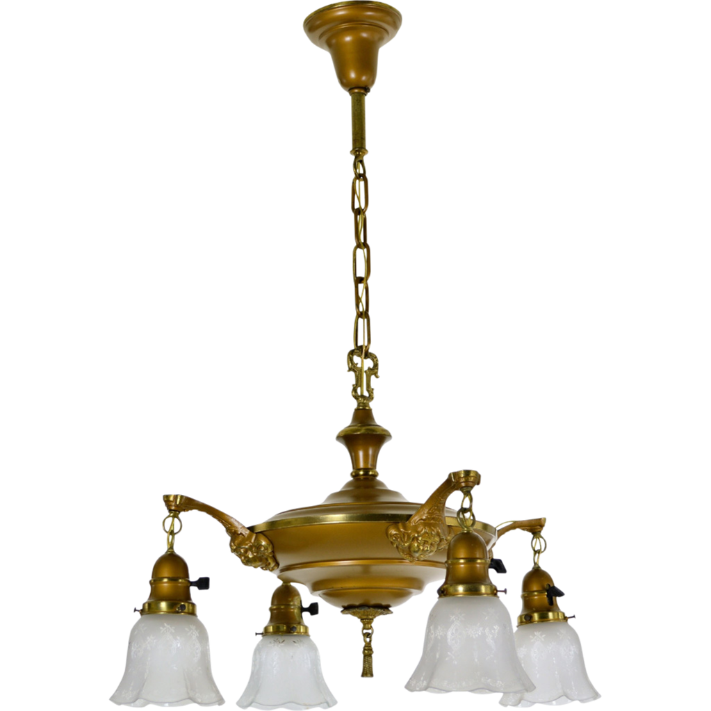 Vintage 4-Light Cherub Fixture