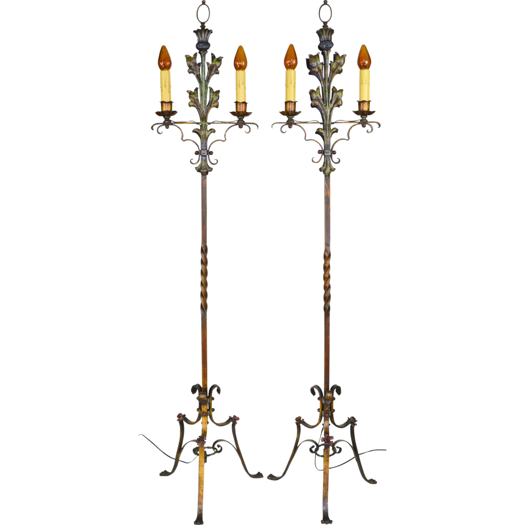 Pair 1920s Candelabra Style Floor Lamps - Polychrome - 2 Lights