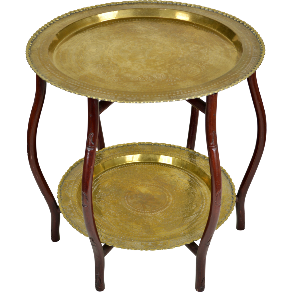 Vintage Mid Century Brass Tray Table   2 Tier   Hong Kong