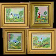 Set 4 Vintage Louis Cardin Enamel on Copper - Impressionist 1978