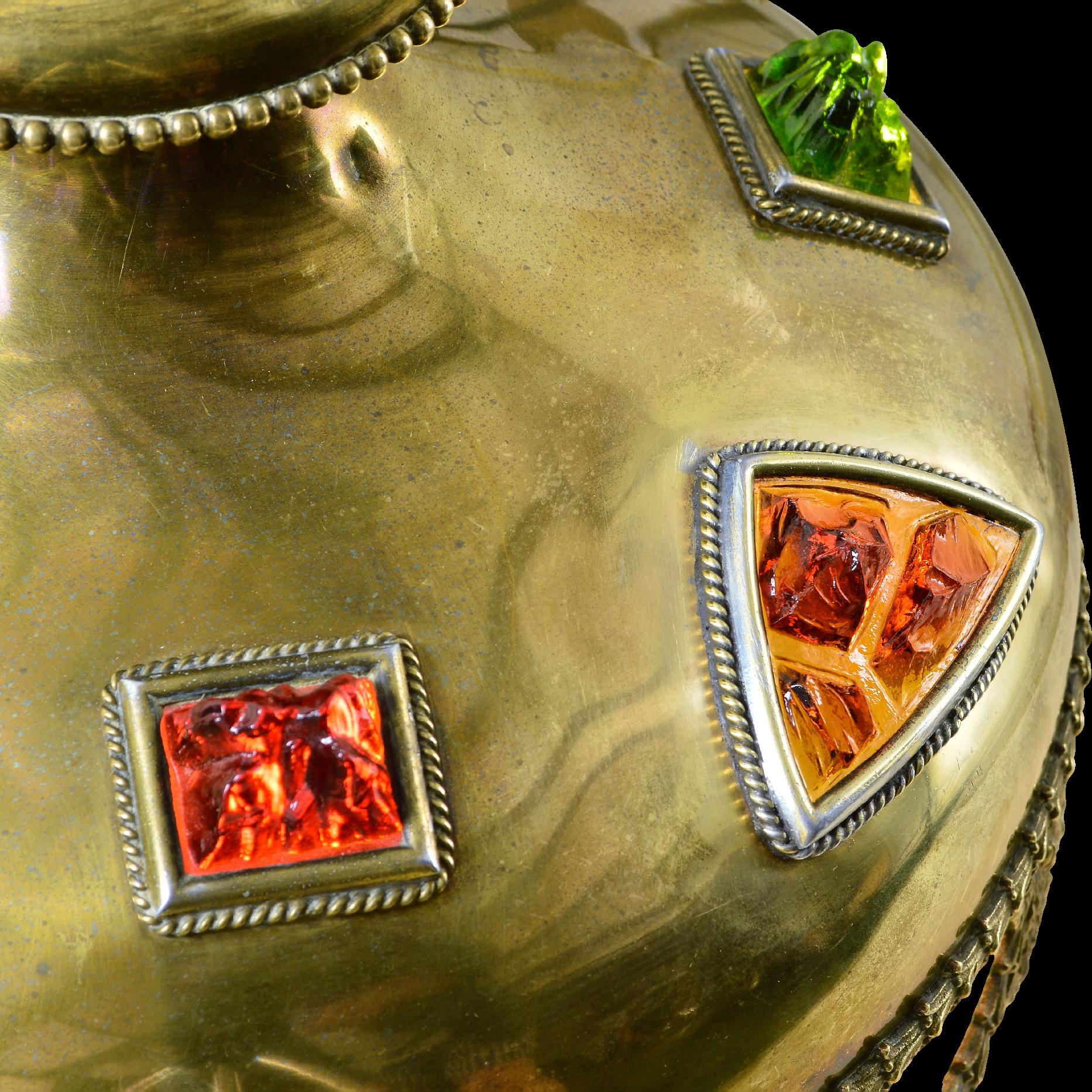 Rare Bradley Hubbard Brass And Chunk Jeweled Glass Lamp