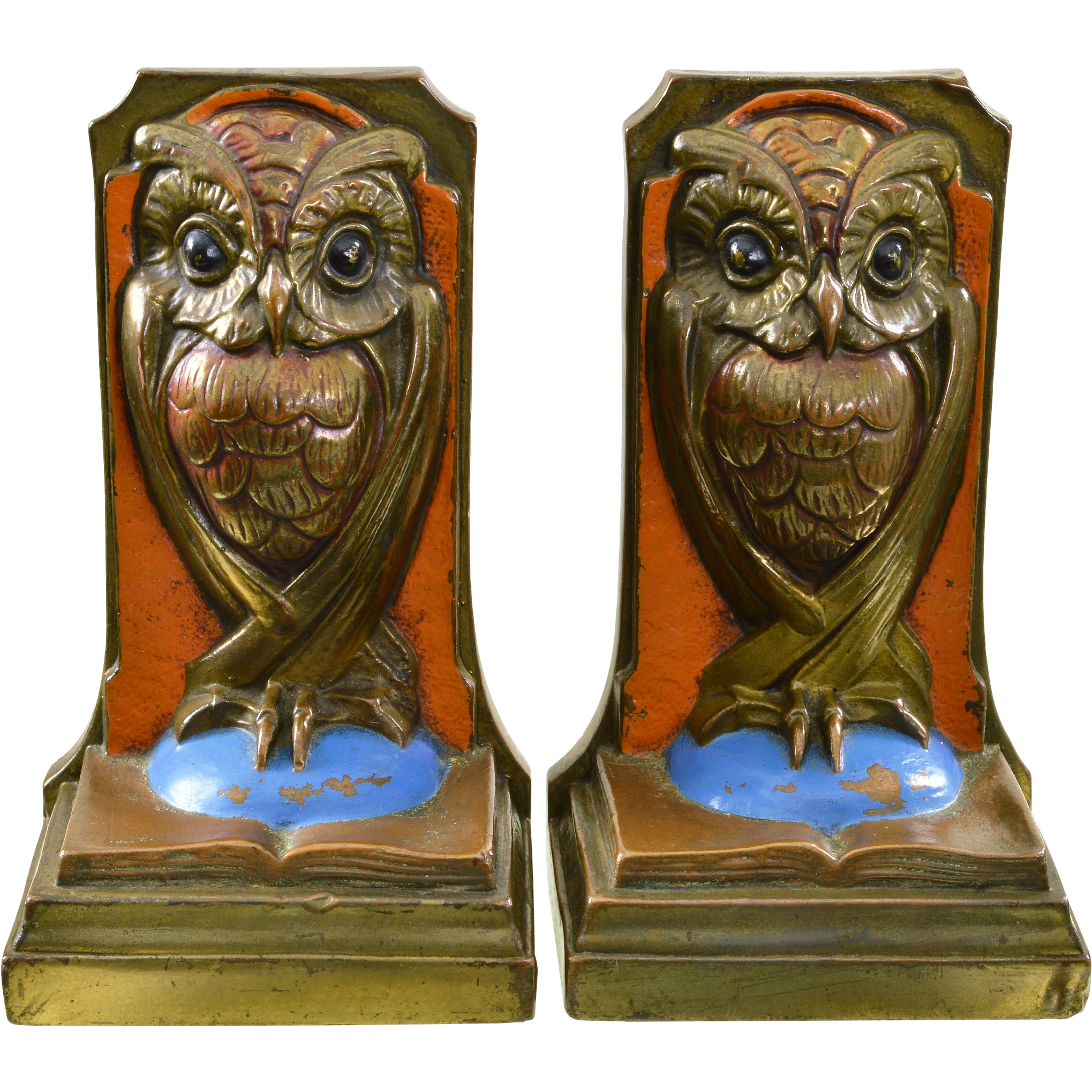 Vintage polychrome owl bookends bronze clad sold on ruby lane - Antique brass bookends ...