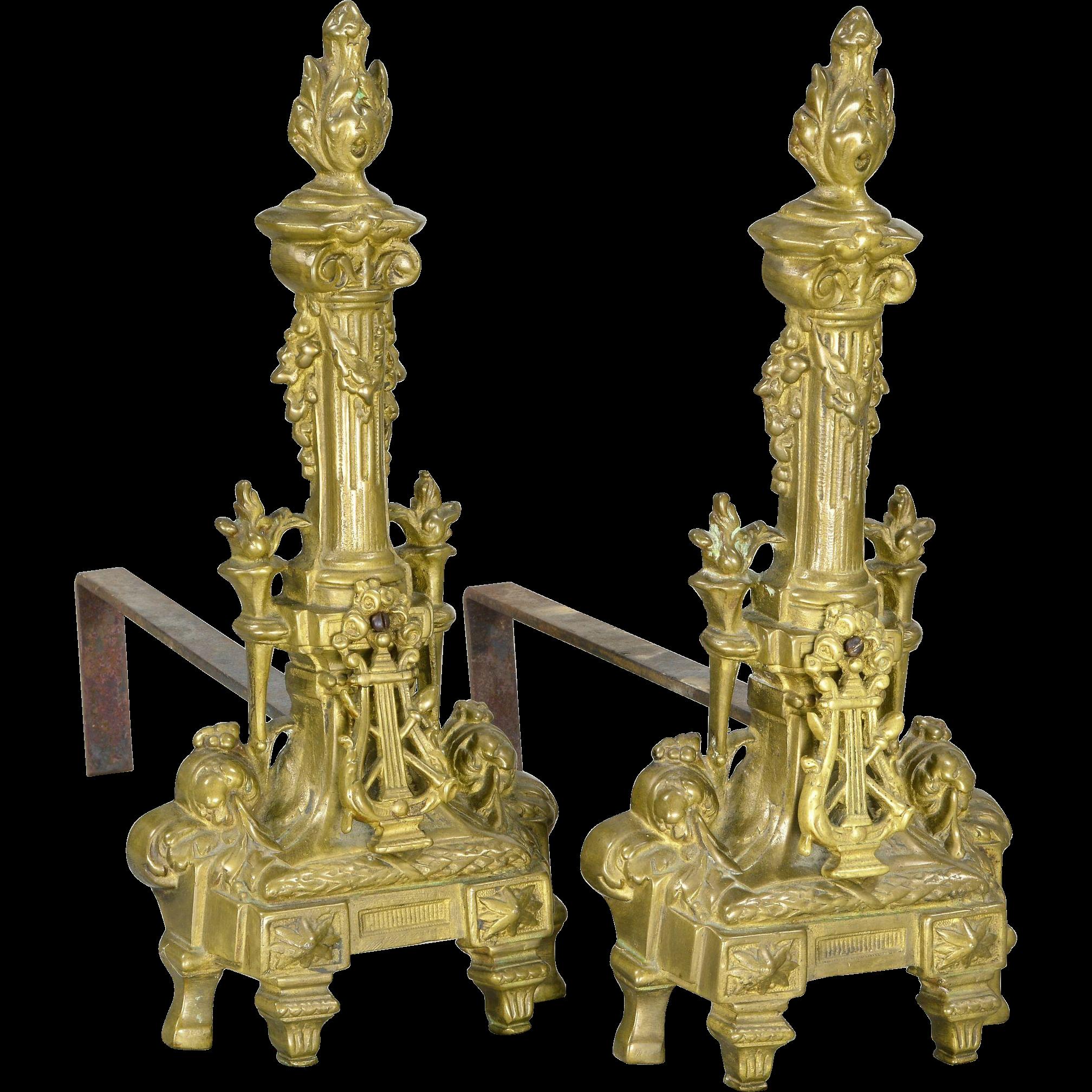 Pair Vintage French Bronze Chenets - Harp - Torch