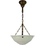 Vintage Cast Glass Bowl Light Fixture