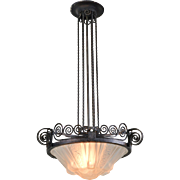 Muller Freres French Pendant Light Fixture - Art Deco