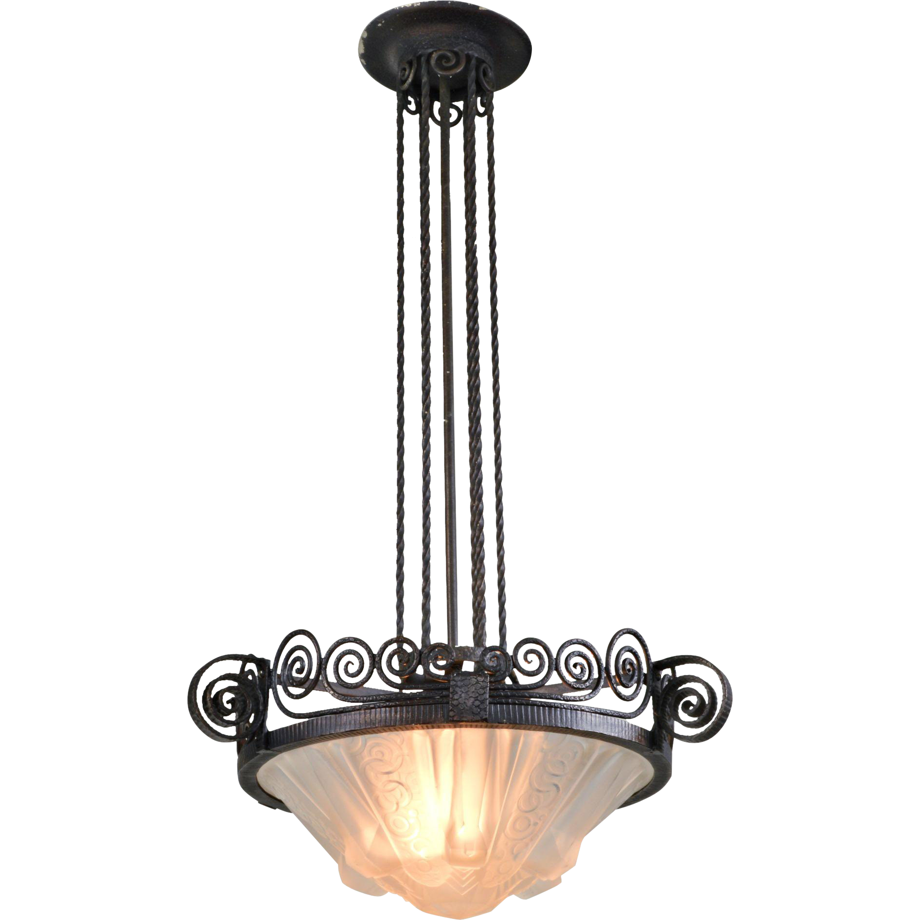 Muller Freres French Pendant Light Fixture Art Deco The Old Warehouse Ruby Lane