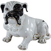 Vintage Italian Pottery English Bulldog - Black & White - From Fortunoff