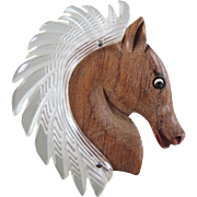 Vintage Lucite & Wood Horse Head Brooch/Pin