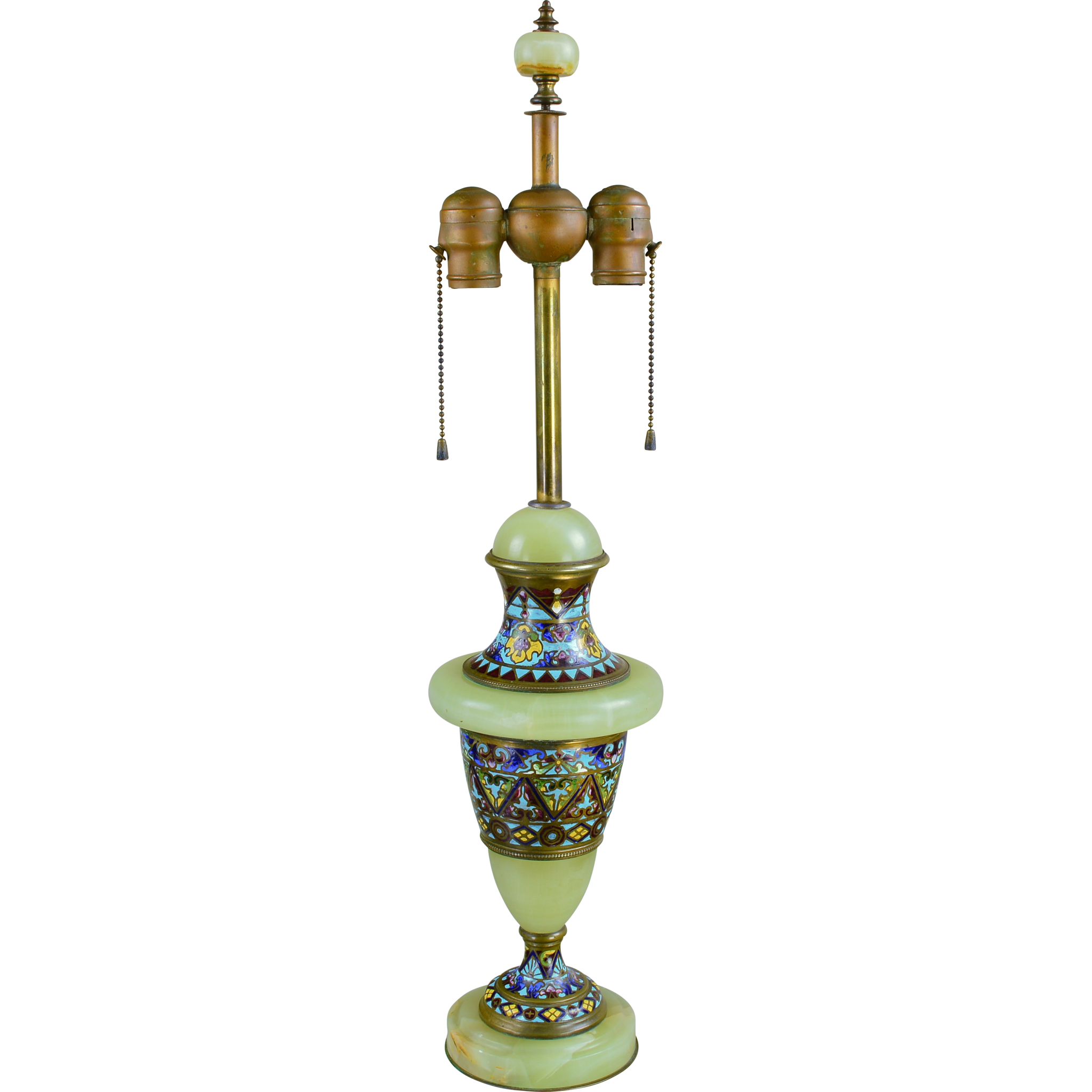 Vintage French Green Onyx and Champleve Lamp