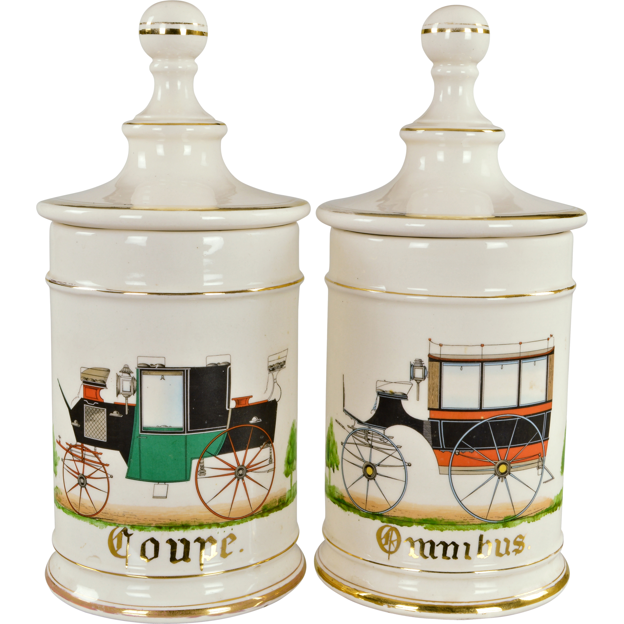 Pair Vintage Apothecary Jars with Antique French Automobiles