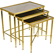Set 3 Italian Brass Nesting - Stacking Tables with Smokey Beveled Mirror Tops