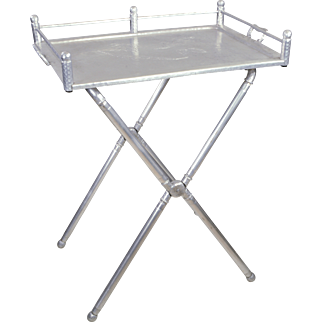 Vintage Everlast Wrought Aluminum Tray Table Stand - Bar or Serving