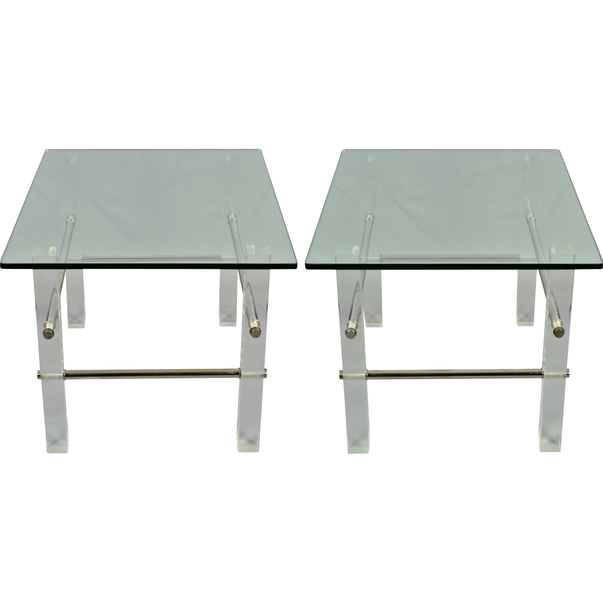 Pair Vintage Lucite and Glass End or Side Tables