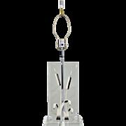 Vintage Lucite Enameled Cattails Lamp - Mid Century