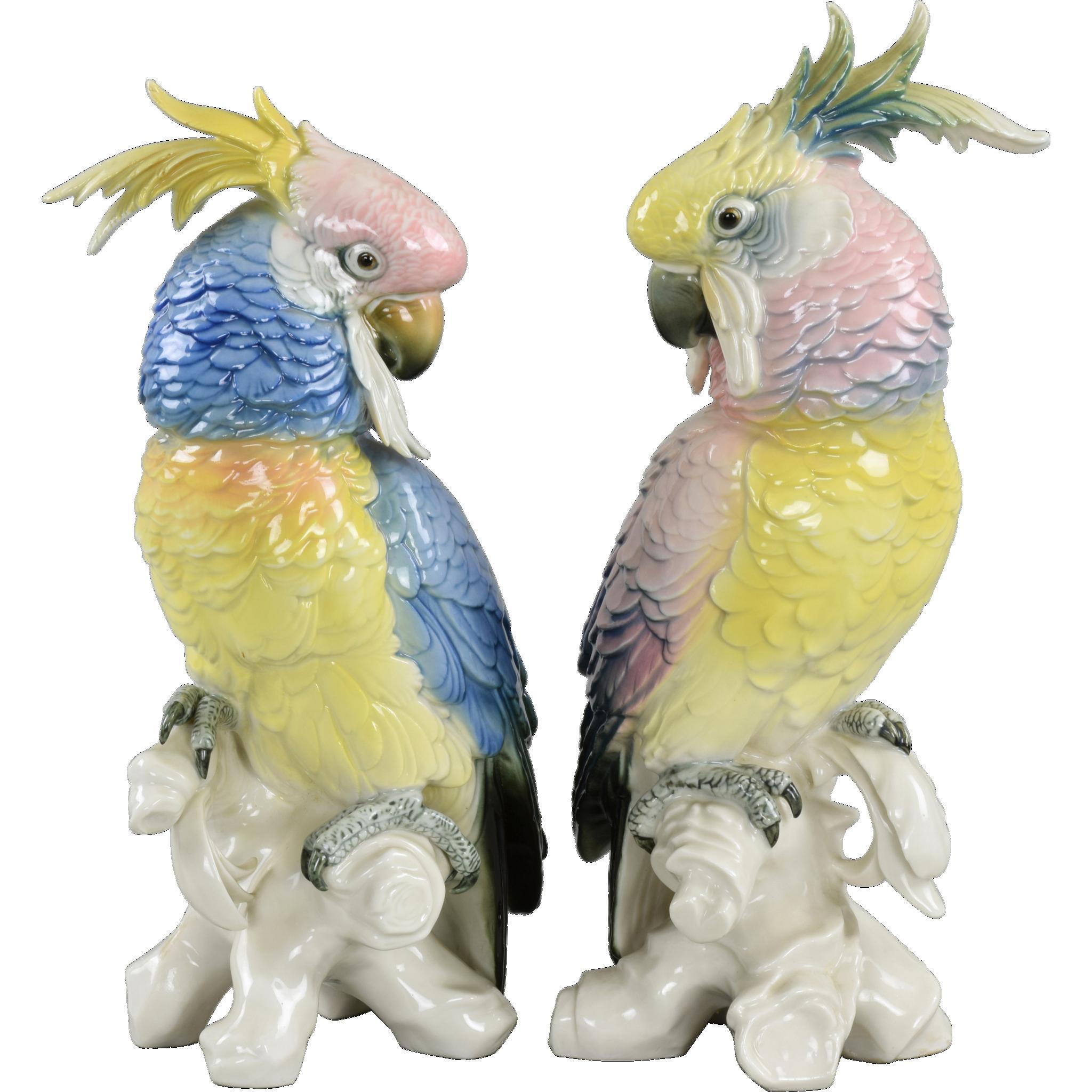 Pair Karl Ens Vintage Porcelain Cockatoos 1919-1945