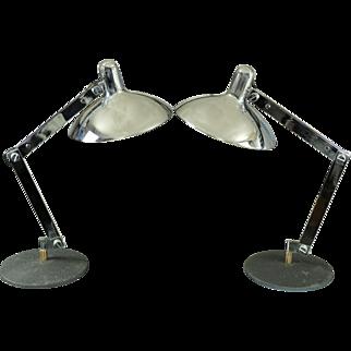 Pair Italian Articulated Chrome Desk Lamps - Mid Century