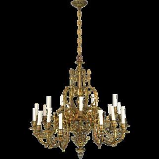 Antique 19th Century Bronze Chandelier - Belle Epoch French - Winged Griffins - 20 Lights