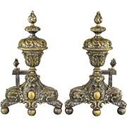 Pair Antique 19th Century French Andirons Flames with Hairy Paw and Claw Ball Feet