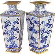 Pair Antique Blue and White Chinese Cloisonne Vases