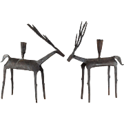 Pair Mid-Century Brutalist Forged Iron Deer Candle Holders