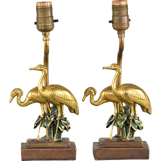 Vintage Pair of Bronze Clad Crane Lamps