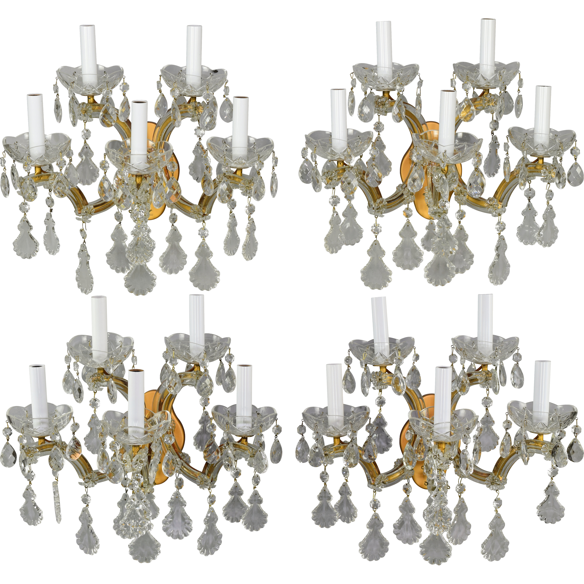 Set 4 Vintage Maria Theresa Italian 5 Light Sconces From Tolw On