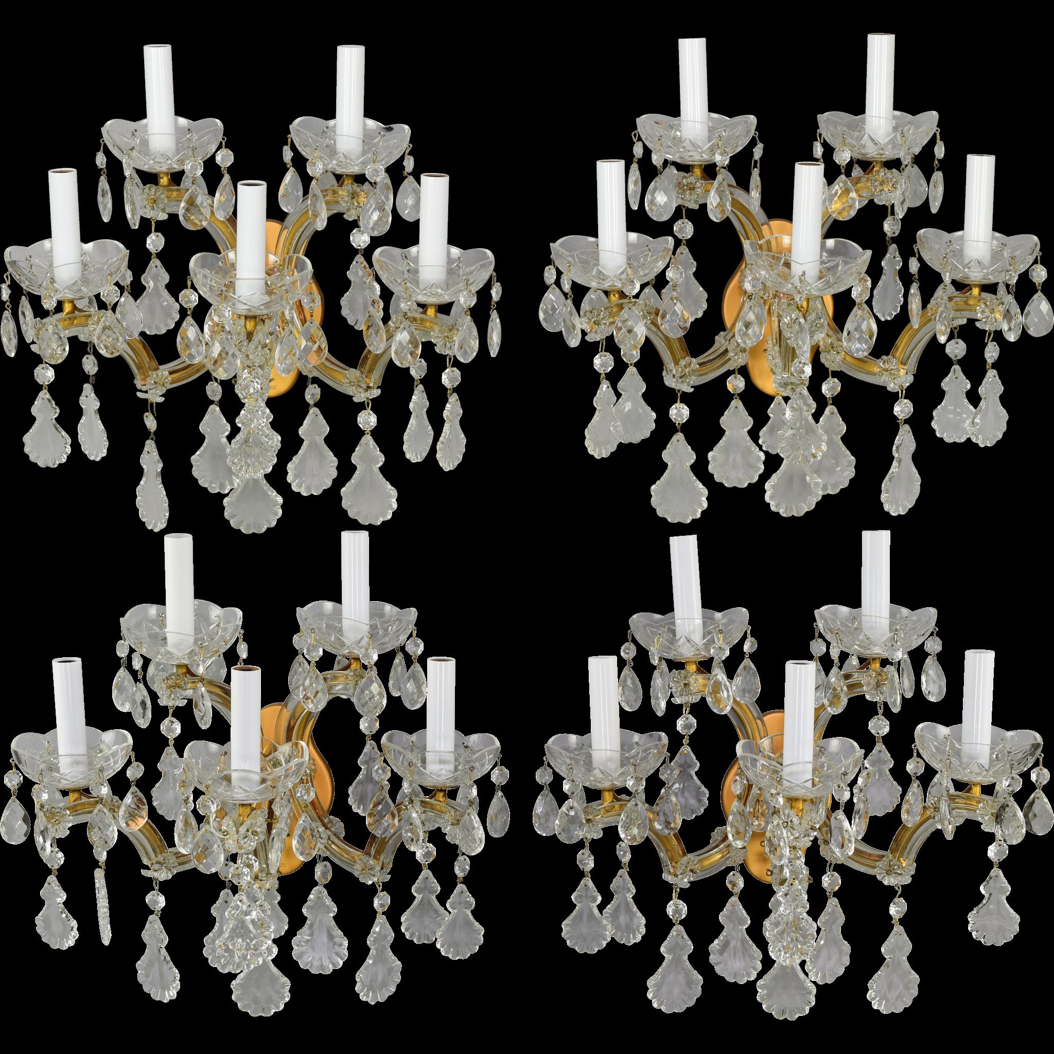 Set 4 Vintage Maria Theresa Italian 5 Light Sconces