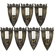 Set 7 Vintage Hammered Gothic Shield Wall Light Sconces