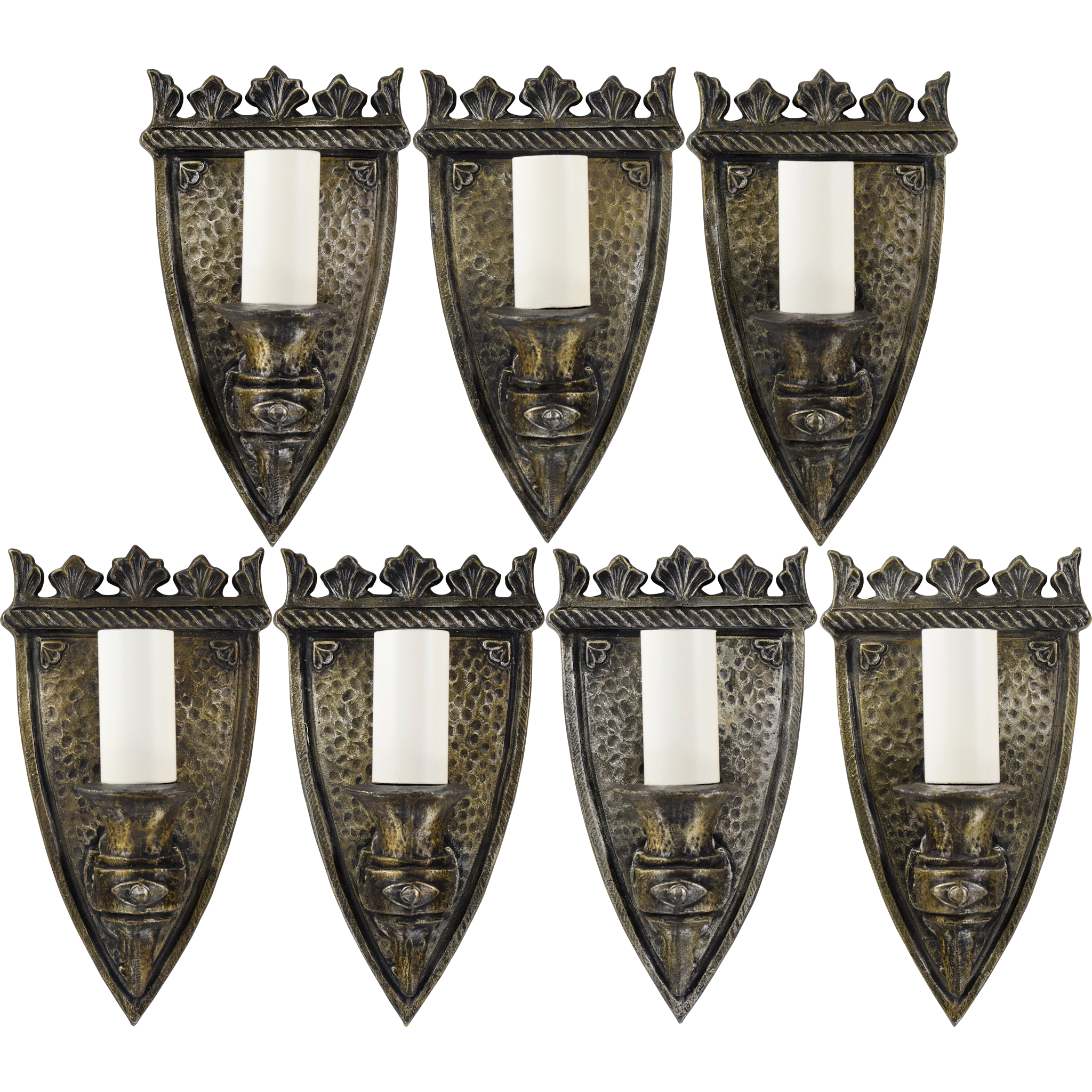 Set 7 Vintage Gothic Shield Wall Light Sconces