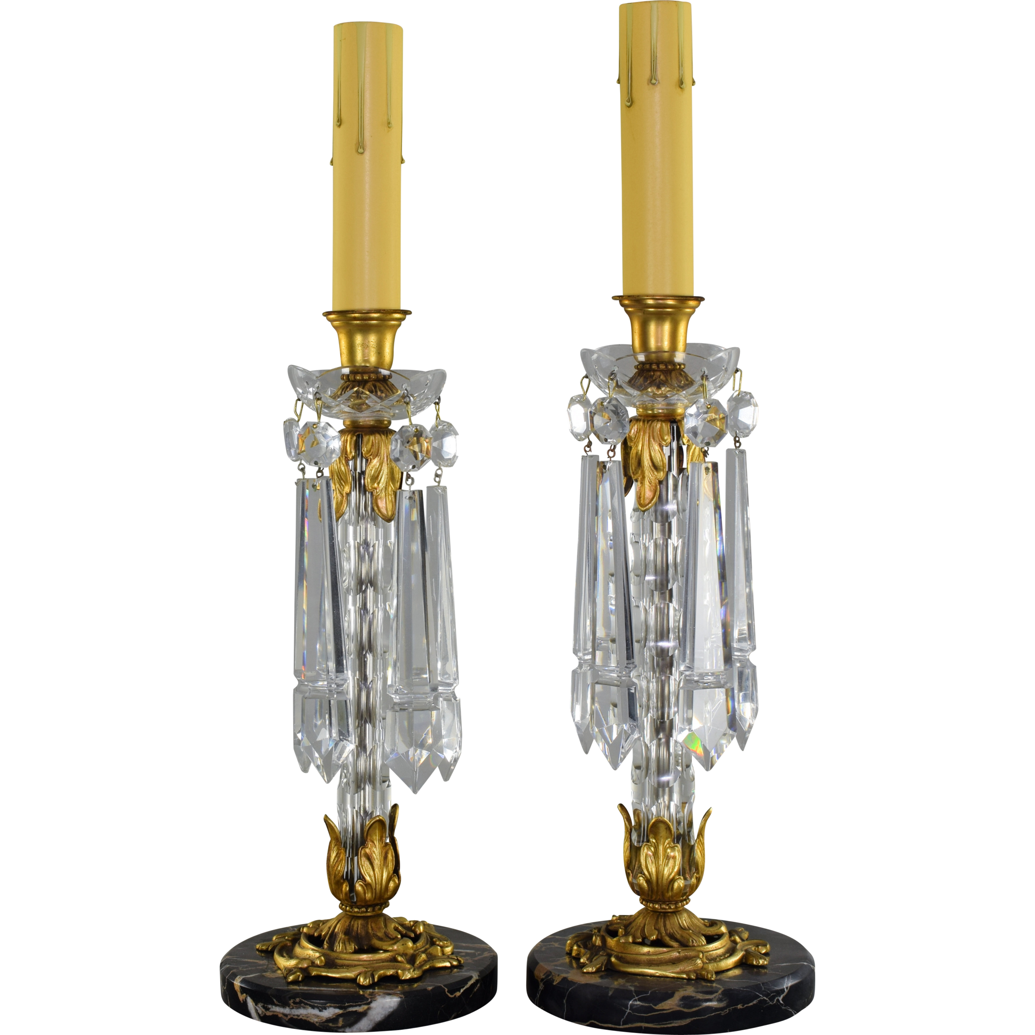 Pair Vintage French Cut Crystal Candlestick Lamps - Lusters