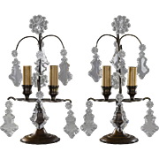 Pair Petite French Bronze and Crystal Candelabra