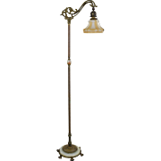 Vintage Rembrandt Iron, Brass and Onyx Bridge Floor Lamp