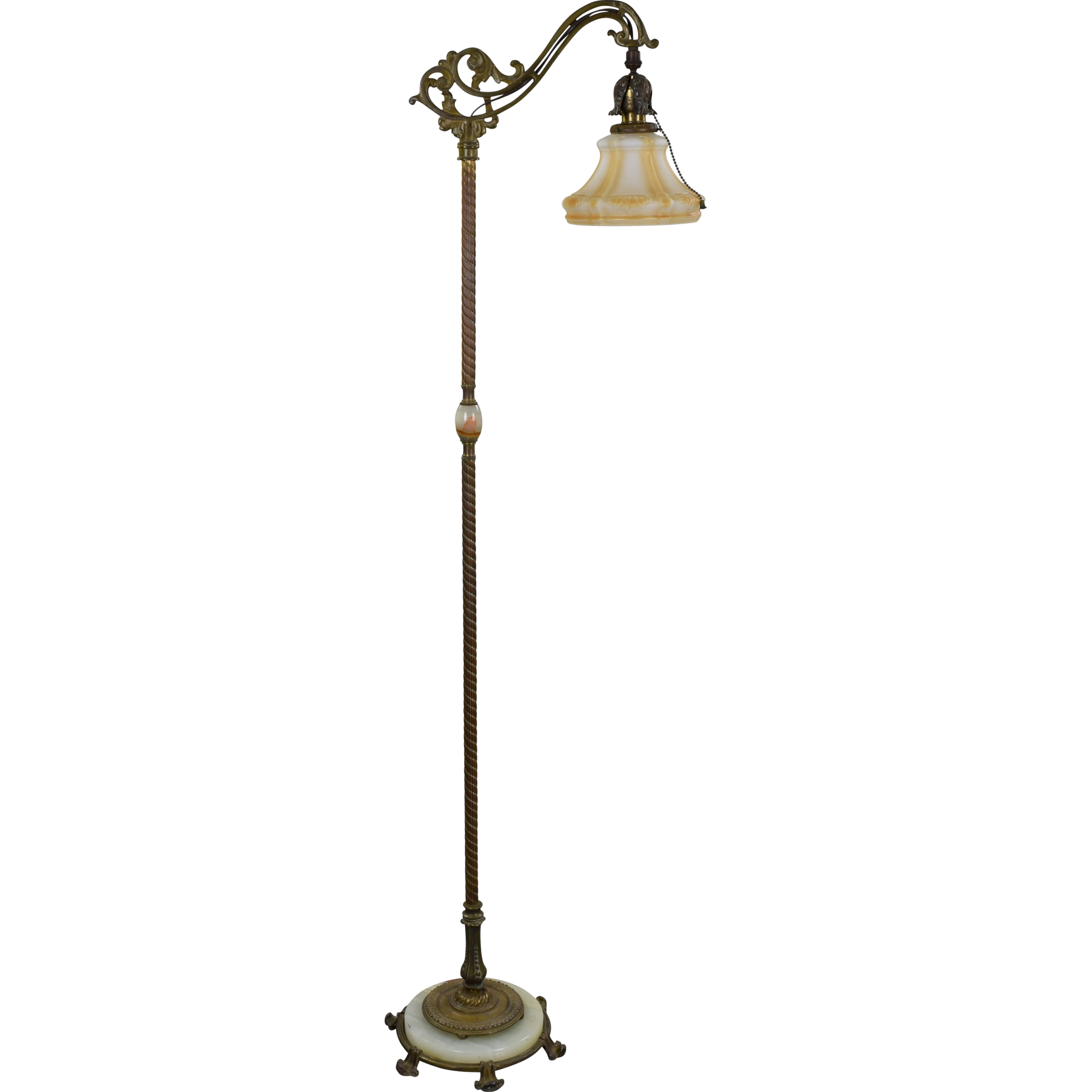 Vintage rembrandt iron brass and onyx bridge floor lamp for Antique floor lamp with nightlight in base