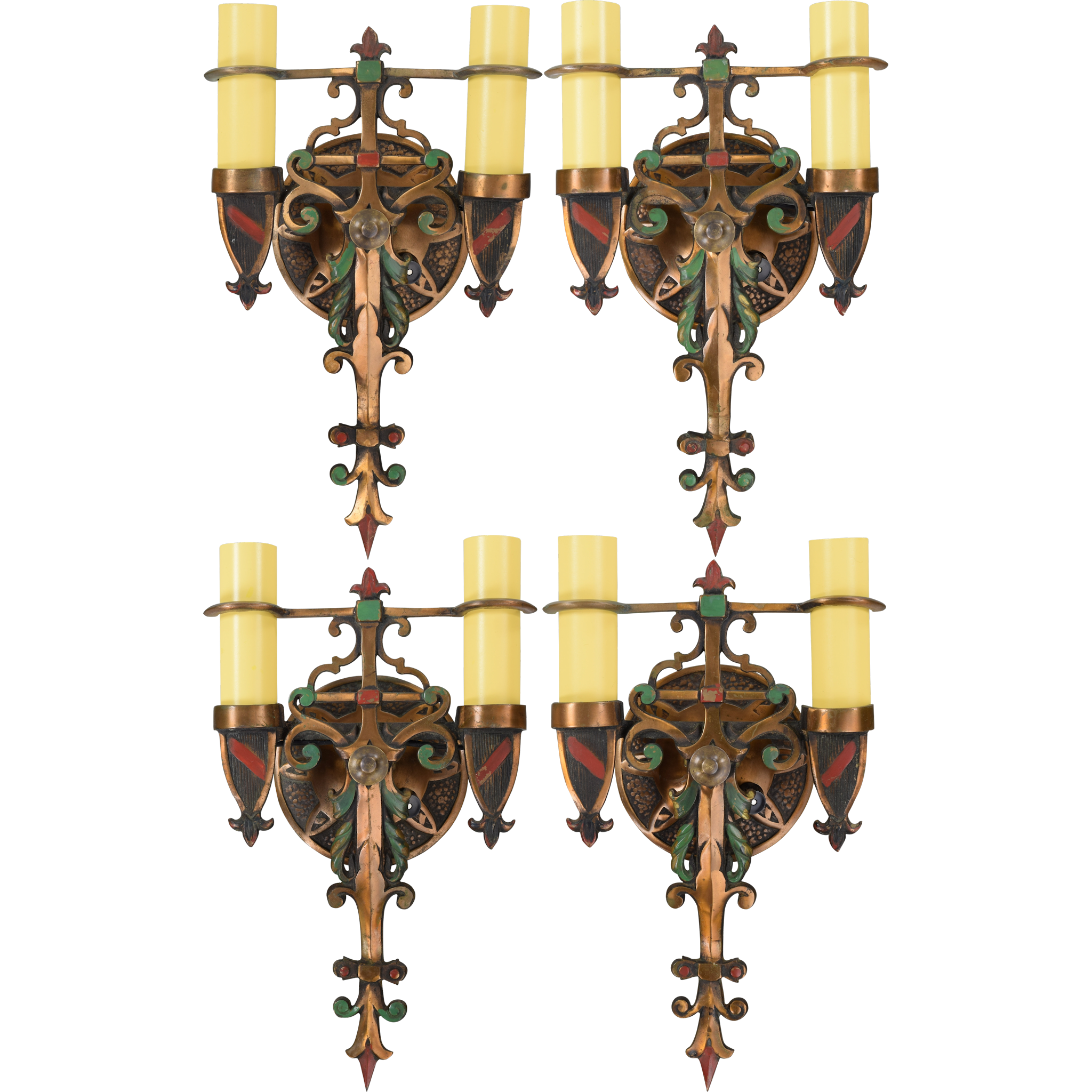 Wall Sconces En Espanol : Set 4 Vintage Spanish Revival Wall Sconces - Polychrome Bronze from tolw on Ruby Lane