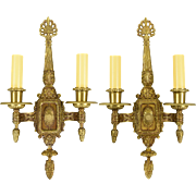 Pair Vintage Ornate Cast Brass Wall Sconces