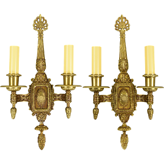Pair Vintage Ornate Cast Brass Wall Sconces