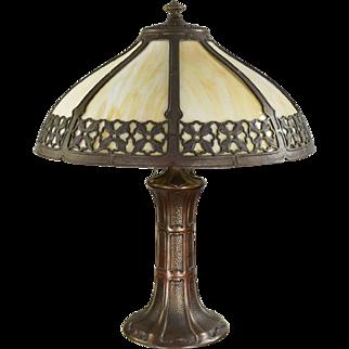 Vintage Slag Glass Arts & Crafts Lamp