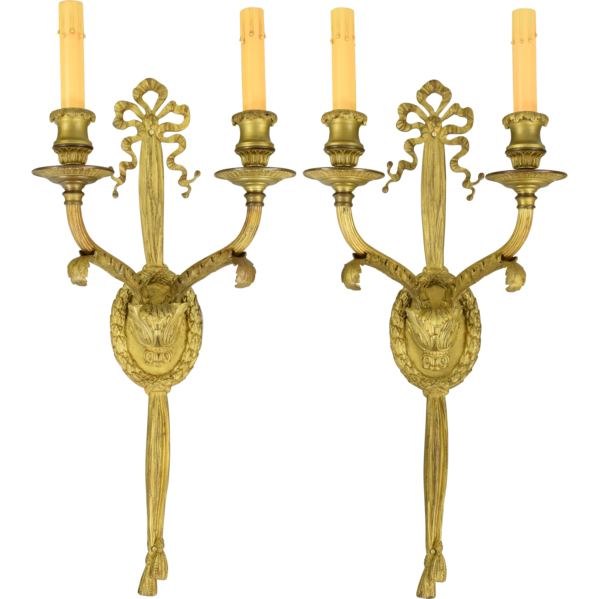 Pair Gilt Brass French 2-Light Wall Sconces