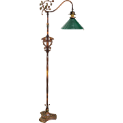 Vintage Iron Floor Lamp Green Shade - Birds - Flowers - Griffins