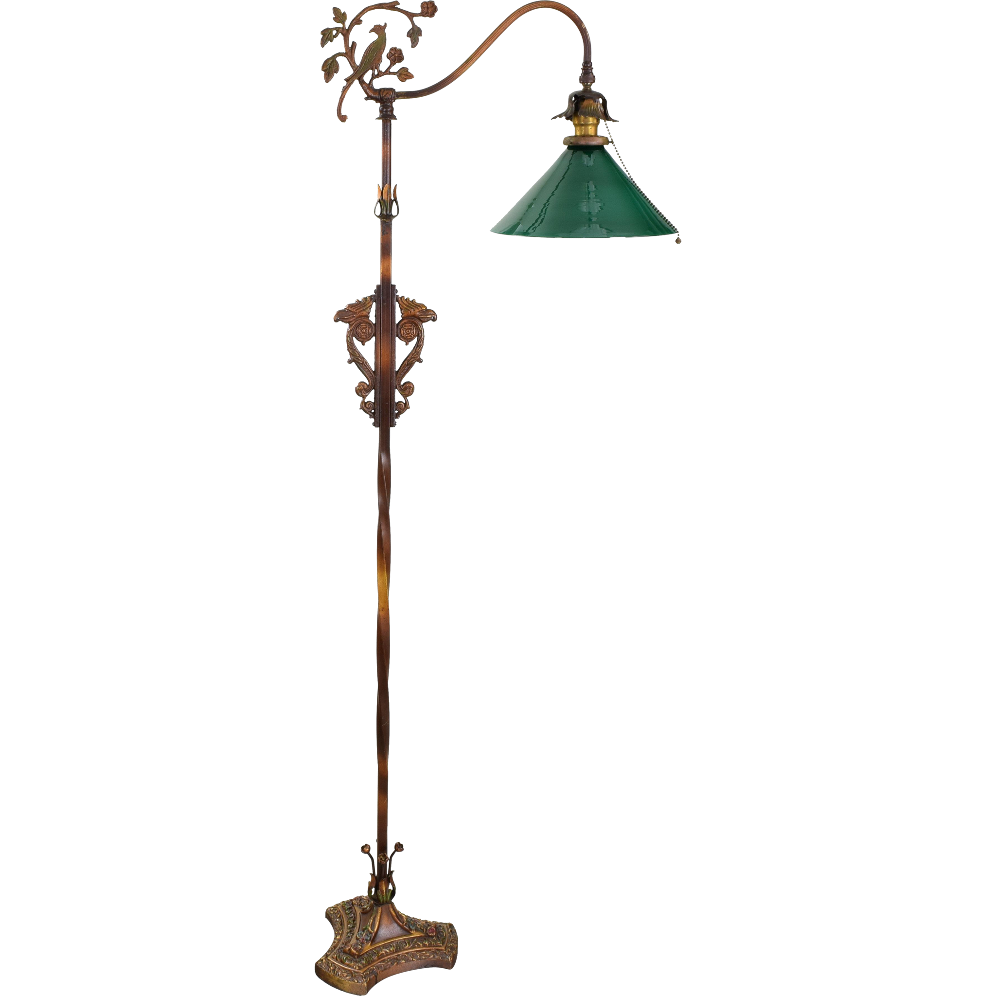 Vintage iron floor lamp green shade birds flowers for Floor lamp with green shade