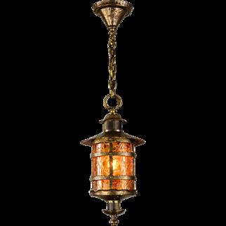 Vintage Crackle Pendant Light Brass