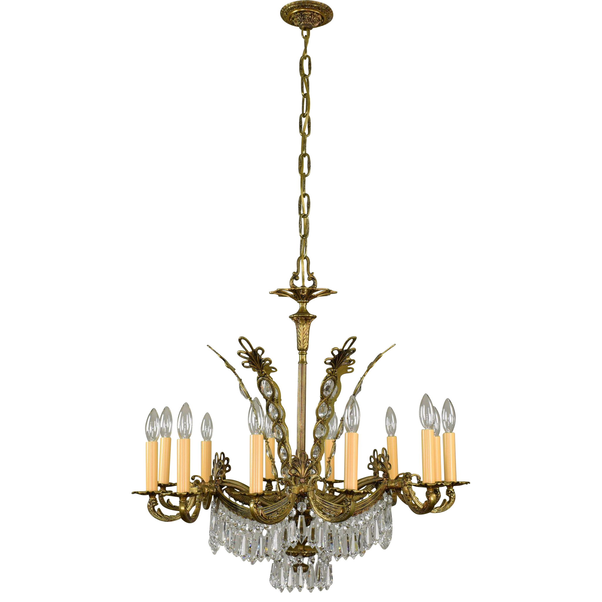 Vintage French Brass and Crystal Chandelier - 12 Lights