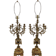 Pair Gilt Bronze Napoleon III French Candelabra