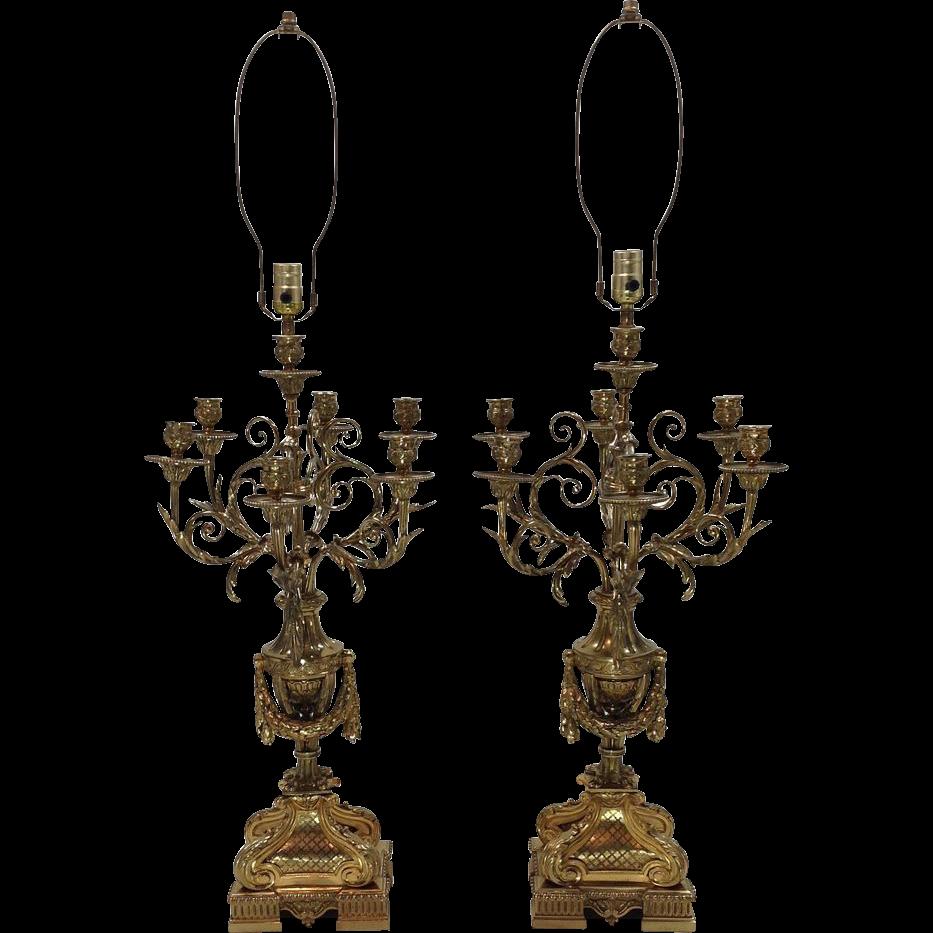 Pair Gilt Bronze Napoleon III French Candelabra