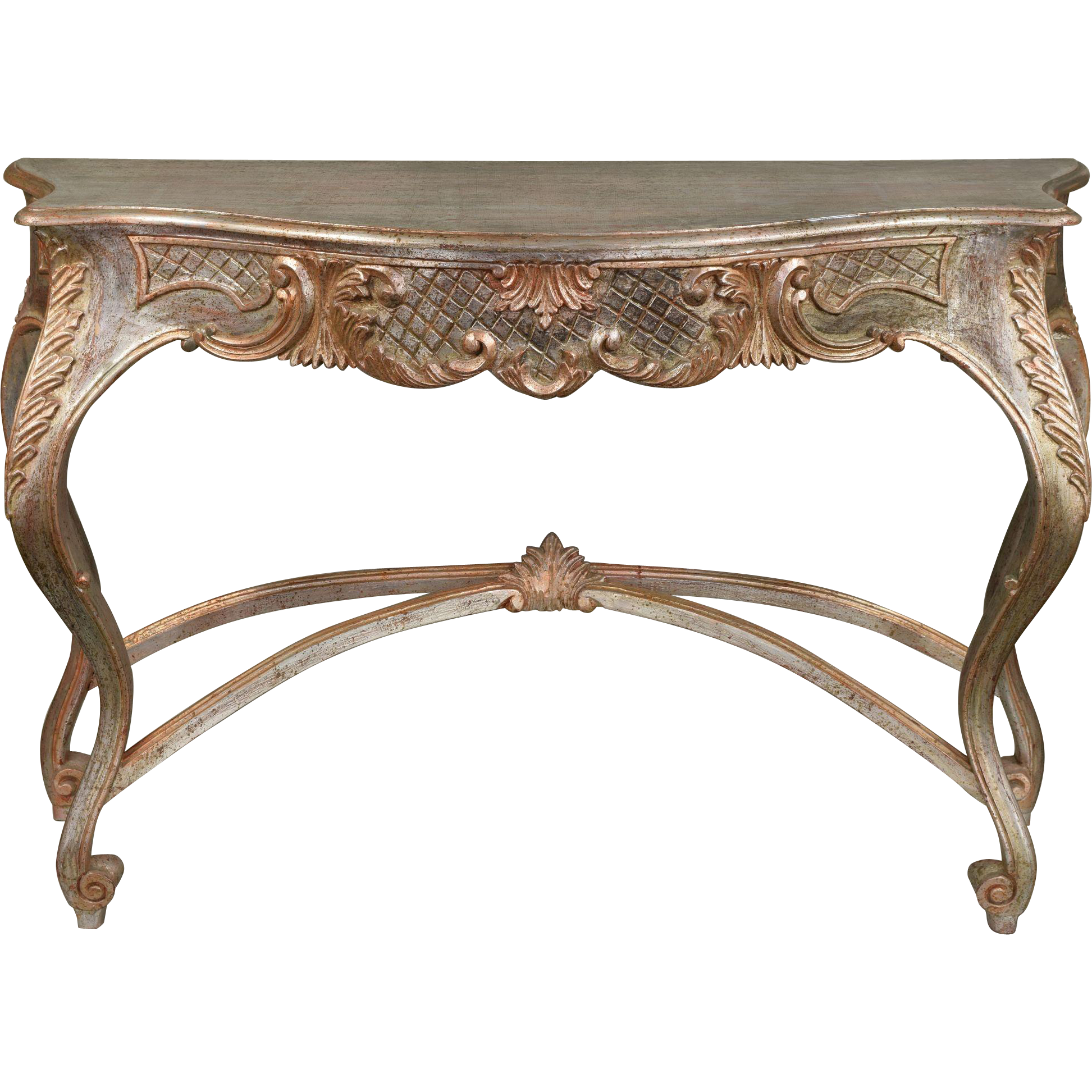 Vintage Italian Silver Gilt Carved Wood Console Table from tolw on
